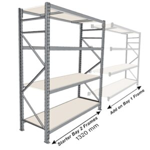 Long Span 4 Shelf Levels Starter Bay-1800x450-1200mm