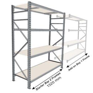Long Span 4 Shelf Levels Starter Bay-2400x900-1200mm