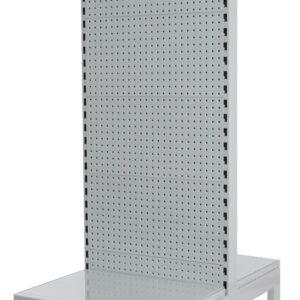 White double Sided 900mm w Narrow Aisle Gondola  300mm Base shelf Starter bay-1800mm-Base Shelf