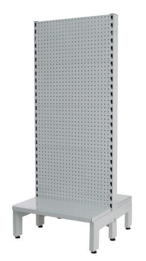 White Double Sided 600mm (W) Narrow Aisle Gondola 300mm Base shelf Starter bay-1800mm-Base Shelf