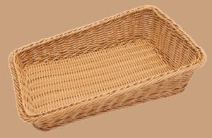 Wicker Basket Poly Sml Slant 450x290x110x40mm NATURAL