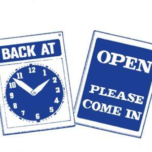 Sign 'Back At...Clock'