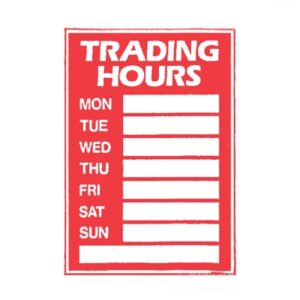 Sign Trading Hours Set with Pen/Suction cups