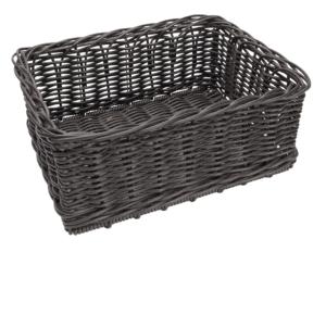 Poly Wicker Medium Basket 400x300x175mm CHOCOLATE