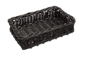 Poly Wicker Low Medium Basket 400x250x100 CHOCOLATE