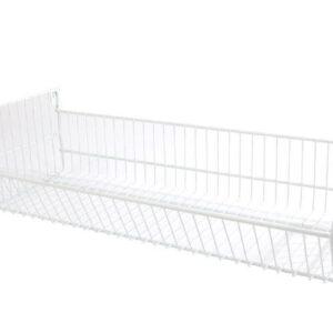 Folding Wire Basket with Brackets - White 600 X 300
