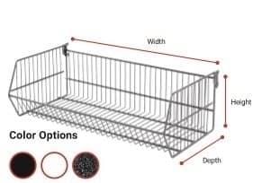 Folding Wire Basket with Brackets - Hammertone 600 X 300