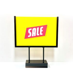Black Sign Holder KIT A4 landscape with acrylic sleeve